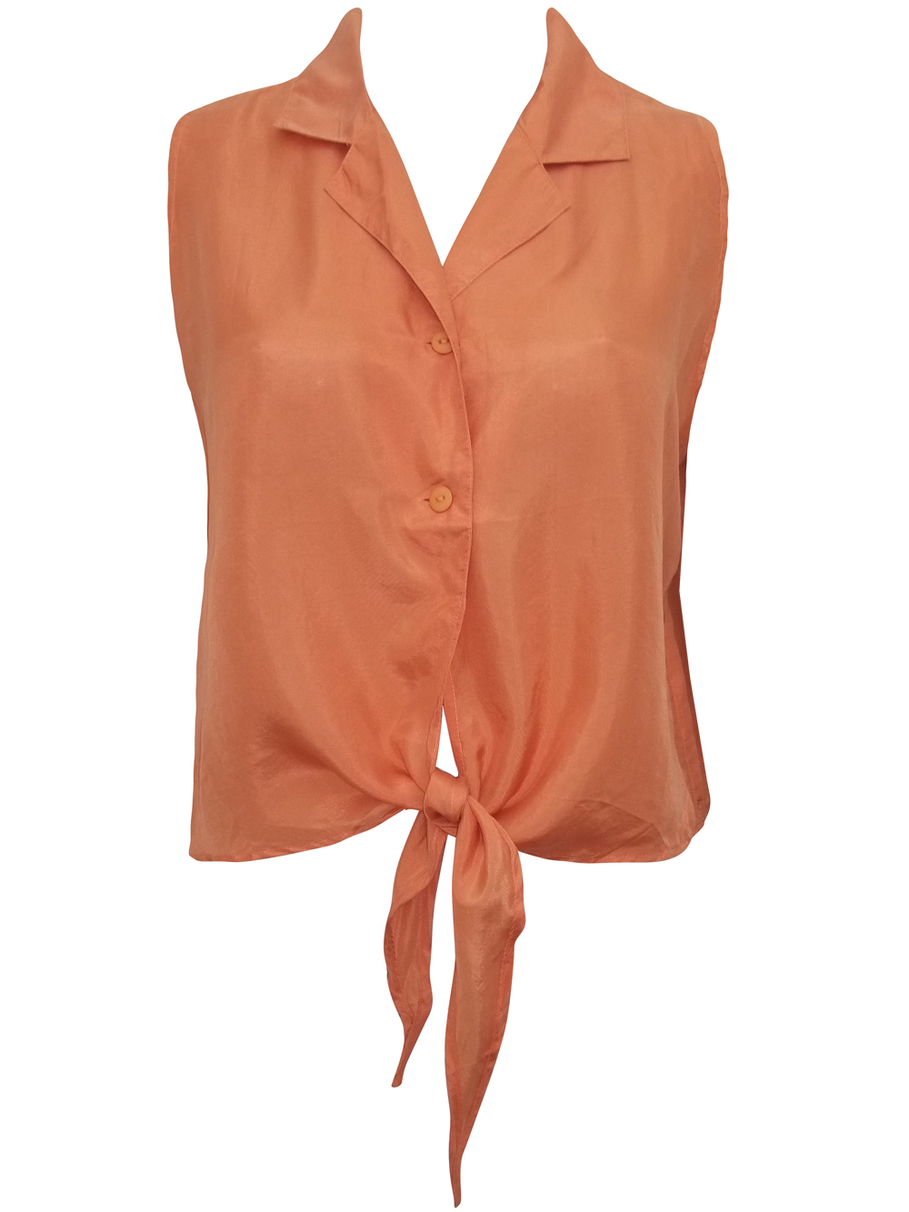 Cocoon SIENNA Pure Silk Sleeveless Tie Front Cropped Shirt - UK Size 12 to 16 (Small to Large)
