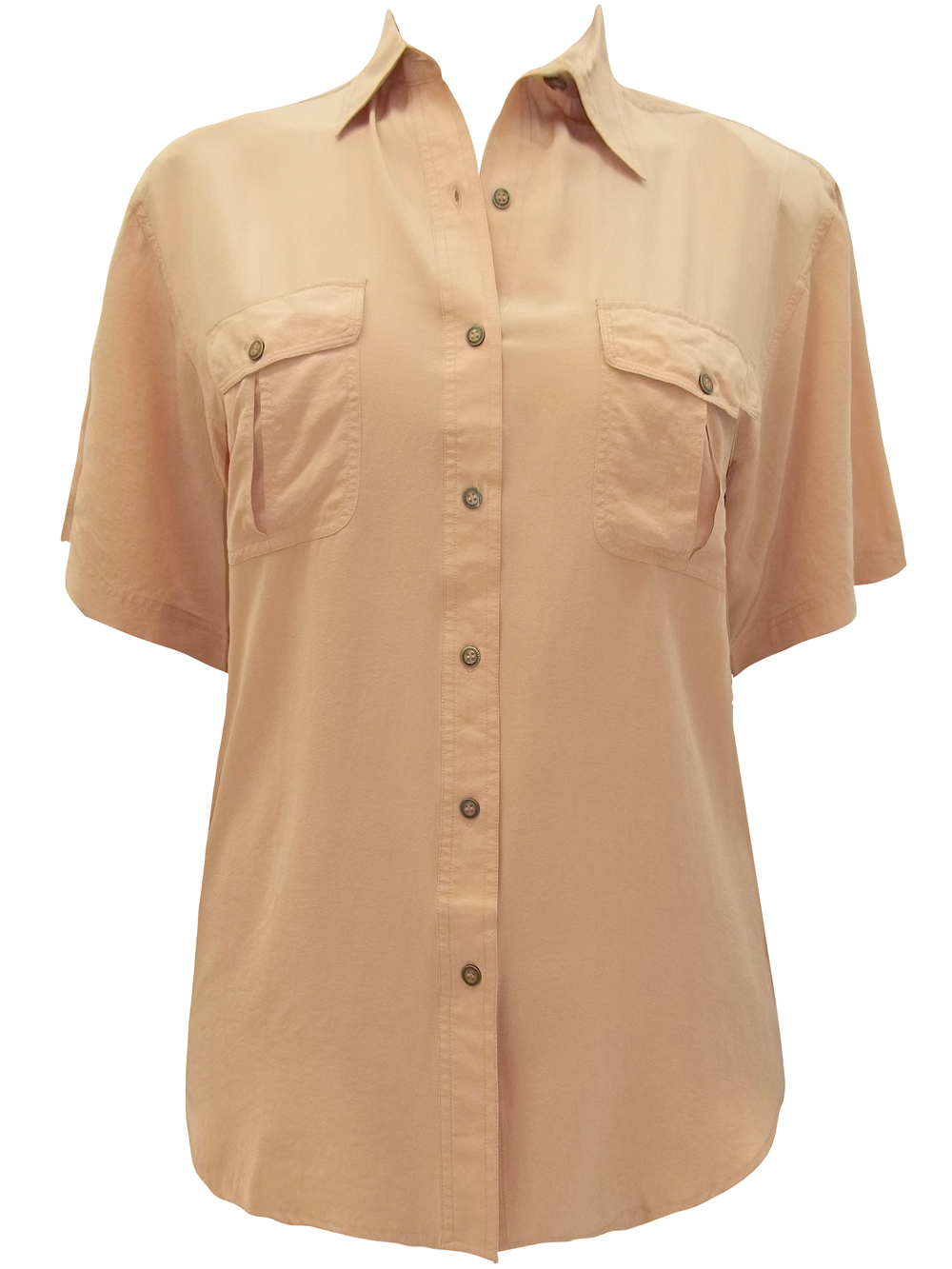 All Silk PEACH Twin Breast Pocket Short Sleeve Shirt - UK Size 12/14 to 16/18 (S/M to L/XL)