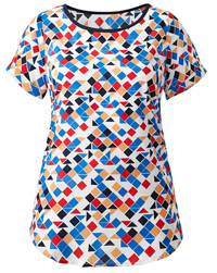 Anthology WHITE Colourful Geometric Print Blouse - Plus Size 10 to 28