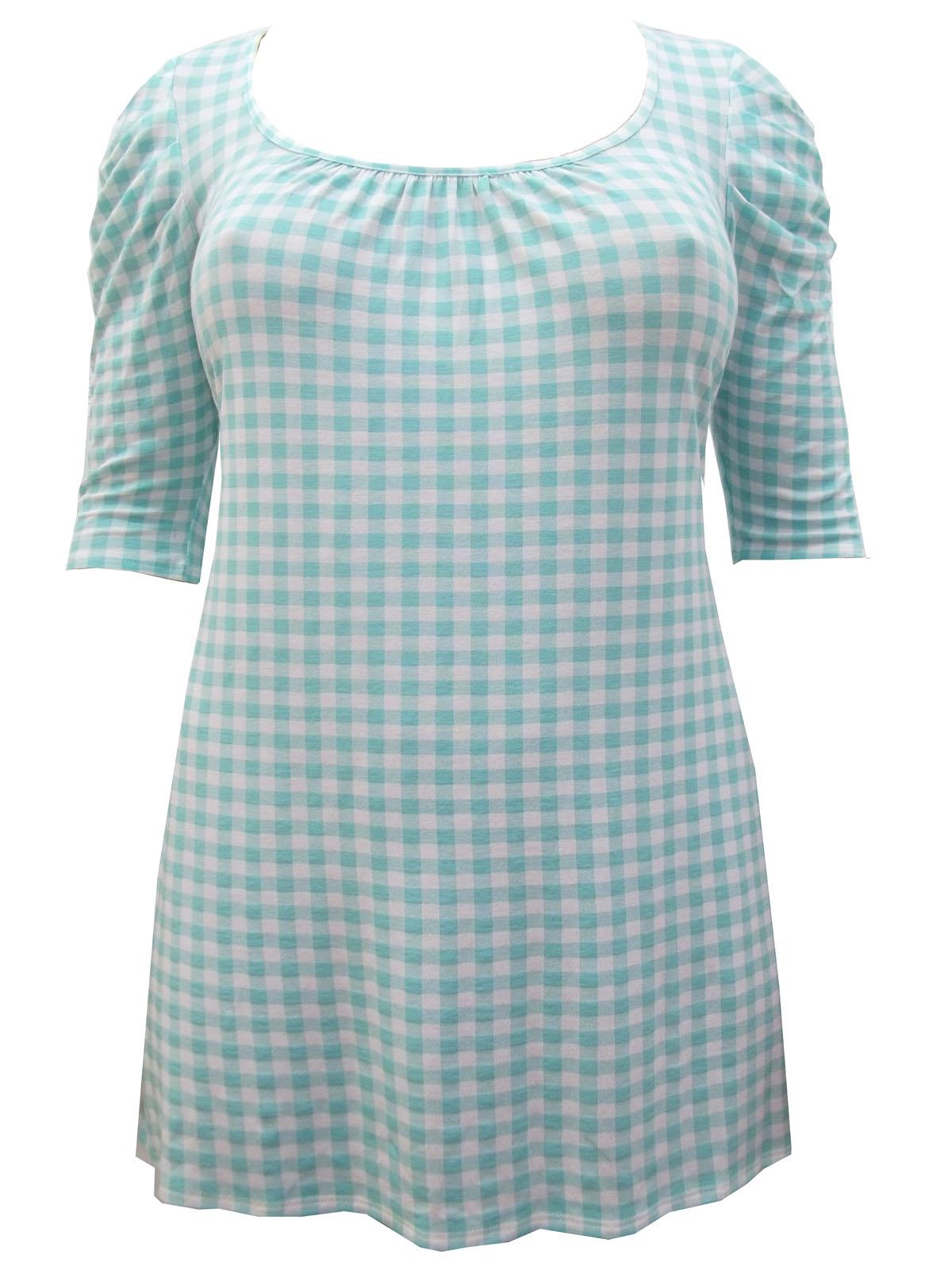 Plus Size 16 to 30//32 Marina Kaneva Turquoise Ruched Sleeve Gingham Tunic