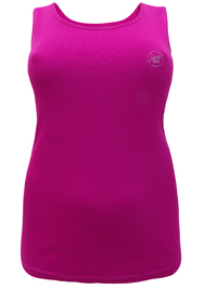 Sheego FUCHSIA Cotton Rich Sleeveless Ribbed Vest - Plus Size 14 to 32