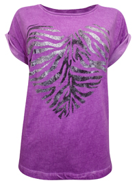 S.Oliver PURPLE Pure Cotton Heart Placement Print T-Shirt - Size 10 to 20