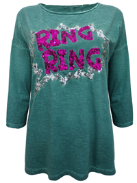 S.Oliver GREEN Pure Cotton Sequin Embellished Ring Ring Top - Size 12 to 20