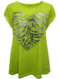 S.Oliver LIME-GREEN Pure Cotton Heart Placement Print T-Shirt - Size 10 to 20