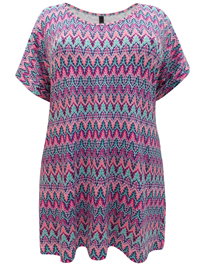 Ivans PINK Aztec Print Short Sleeve Jersey Top - Plus Size 16 to 34/36