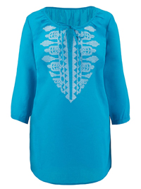 Anthology TURQUOISE Embroidered Gypsy Top - Plus Size 12 to 28