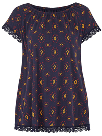 Anthology NAVY Crochet Trim Printed Gypsy Top - Size 10 to 32