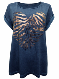 S.Oliver DENIM-BLUE Pure Cotton Heart Placement Print T-Shirt - Size 8 to 24