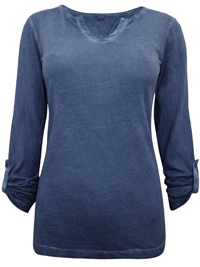 S.Oliver INDIGO Pure Cotton Long Sleeve Top - Size 10 to 20