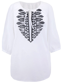 Anthology WHITE Embroidered Gypsy Top - Plus Size 14 to 18