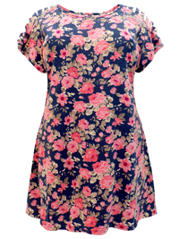 Ivans NAVY Floral Print Shredded Sleeve Tunic - Plus Size 16 to 34/36