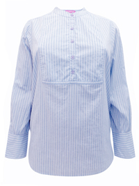 Woman Within BLUE Pure Cotton Striped Collarless Shirt - Plus Size 18/20 to 42/44 (Medium to 5X)