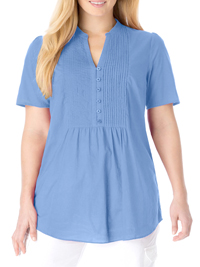 Woman Within BLUE Pleated Short Sleeve Shirt - Plus Size 18/20 to 42/44 (Medium to 5X)