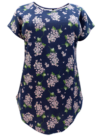Ivans NAVY Floral Print Curved Hem Top with Modal - Plus Size 16 to 34/36