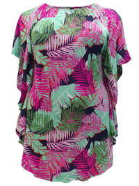 Ivans Jungle Palm Print On/Off Shoulder Ruffle Sides Tunic - Plus Size 16 to 30/32