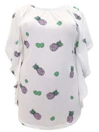 Ivans IVORY Pineapple Print On/Off Shoulder Ruffle Sides Tunic - Plus Size 16 to 30/32