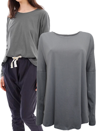 Cloth&Co CHARCOAL Organic Cotton Long Sleeve Curve Top - Size 10 to 16 (XSmall to Large)
