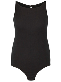 SimplyBe BLACK Sleeveless Ribbed Bodysuit - Plus Size 24