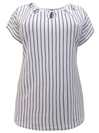 Ivans NAVY-WHITE Cotton Rich Striped Cut-Out Top - Plus Size 16 to 34/36