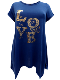 Ivans BLUE Metallic Love Hanky Hem Top - Plus Size 16 to 34/36