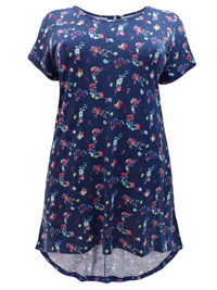 Ivans NAVY Pure Cotton Floral Print Dipped Hem Top - Plus Size 16 to 34/36