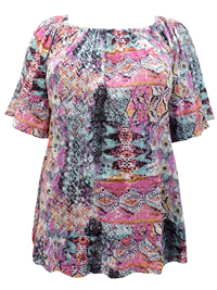 Y0urs MULTI Printed On-Off Shoulder Panelled Top - Plus Size 16 to 34/36