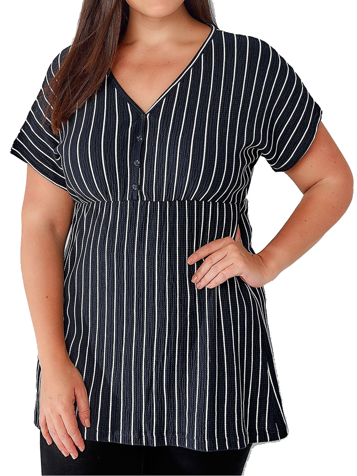 Ivans NAVY V-Neck Striped Tunic Top - Plus Size 16 to 34/36