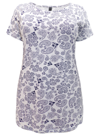 Ivans WHITE Paisley Print Short Sleeve Modal Blend Top - Plus Size 16 to 34/36