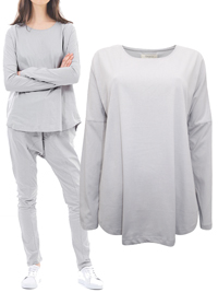 Cloth&Co DOVE-GREY Organic Cotton Long Sleeve Curve Top - Size 10 to 16 (XSmall to Large)