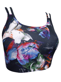 BLACK Floral Print Double Strap Crop Top - Size 6 to 18