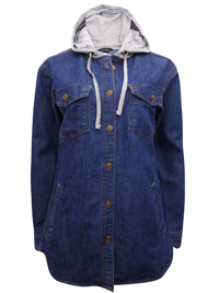 Bershka BLUE-DENIM Pure Cotton Hooded Denim Shirt - Size Small to XLarge