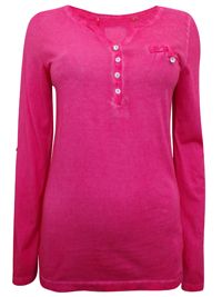 S.Oliver PINK Pure Cotton Button Neckline Long Sleeve Top - Size 10 to 20