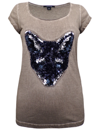 Gomma FAWN Pure Cotton Embellished Fox Print Top - Size 10 to 20