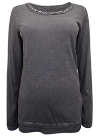S.Oliver CHARCOAL Bead Embellished Long Sleeve Top - Size 8 to 20