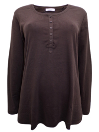 S.Oliver CHOCOLATE Pure Cotton Long Sleeve Top - Plus Size 18 to 28