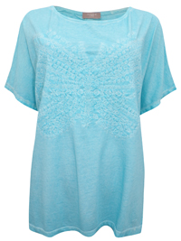 S.Oliver Triangle AQUA Pure Cotton Embroidered Butterfly Top - Plus Size 14 to 28