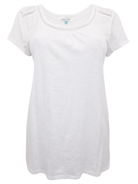 Wh1te Stuff WHITE Pure Cotton Ladder Trim Top - Size 8 to 18