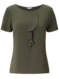 Pr3cis KHAKI Ruffle Front Short Sleeve Top - Size 6 to 18