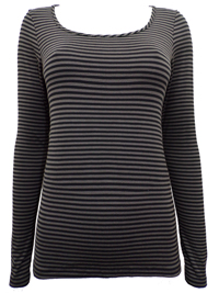 PureCollection CHARCOAL Striped Long SleeveJersey Top - Size 8 to 14
