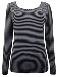 PureCollection Petrol BLUE Striped Long Sleeve Jersey Top - Size 18