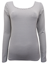 PureCollection Light GREY Long Sleeve Striped Jersey Top - Size 8 to 18