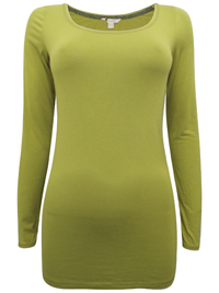 Wh1te Stuff GREEN Scoop Neck Long Sleeve Jersey Top - Size 6 to 18