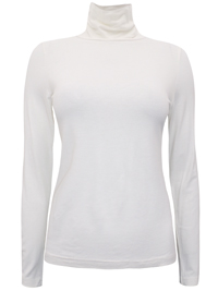 PureCollection CREAM Long Sleeve CLARA Roll Neck Jersey Top - Size 8 to 18