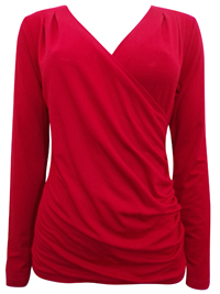 PureCollection RED Devonport Mock Wrap Jersey Top - Size 8 to 20