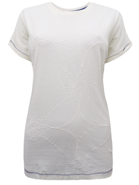 We1rdFish OFF-WHITE Pure Cotton Embroidered Top - Size 8 to 18