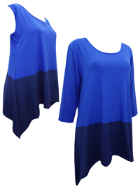 Grace BLUE Assorted Color Block Panelled Tops - Size 12 to 18