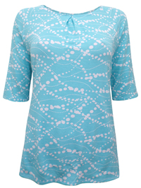 SKY-BLUE Spot Print Half Sleeve Jersey Top - Size Small to XLarge