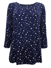 First Avenue NAVY Star Print 3/4 Sleeve Jersey Top - Size 10 to 12