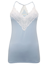 Oysho SKY-BLUE Contrast Lace Strappy Cami Vest - Size Small to Large