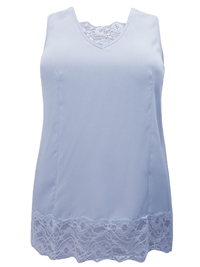 Denim 24/7 BABY-BLUE Sleeveless Lace Trim Vest Top - Plus Size 12 to 30